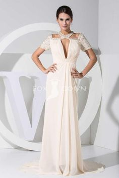 ivory beaded strap neck short sleeve front keyhole sheath floor length chiffon evening dress