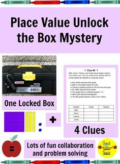 Place Value Unlock the Box: A Fun Math Mystery Reading Resources, Math Activities, Teacher Resources, Classroom Resources, Elementary Teacher, Upper Elementary, Elementary Schools, Teaching Tips, Teaching Math