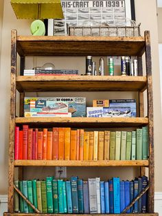 Love - putting books in order by color!