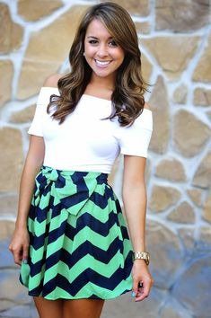 White top with classier skirt chevron dress