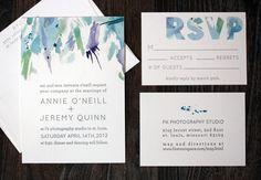 Modern yet simplistic watercolour wedding invitation suite