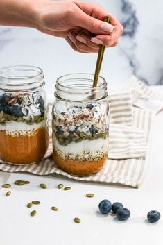 This Pumpkin Blueberry Breakfast Parfait is so easy to make in minutes! It is also great for a healthy meal prep throughout the week. Not only is it gluten-free, but also vegetarian. You have a base layer of pumpkin puree, banana, collagen and honey. Then more layers consisting of gluten-free granola or oatmeal mix, dairy-free yogurt, pumpkin seeds, fresh blueberries and more honey on top. These last in the fridge up to 3-4 days in a tightly sealed container. The texture and flavor co…