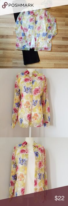 Alfred Dunner dress shirt!! NWOT This ia a beautiful floral print dress shirt. Has a built in cami and long sleeves. This is very comfortable because it such a light weight shirt!! Ralph Lauren Tops Blouses