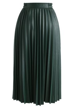 Faddish Gloss Pleated Faux Leather A-Line Skirt in Dark Green - Retro, Indie and Unique Fashion Dark Green Skirt, Leather A Line Skirt, Virtual Fashion, Bridesmaid Flowers, Bridesmaids, Faux Leather Fabric, Models, A Line Skirts, Midi Skirts