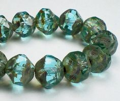 8mm  Transparent Aqua Picasso Finish Central by AshleysWearhouse