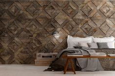Creatively patterned Oxidum Cast Iron walls shown here. #HIT #Design #Tile