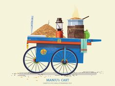 This series is dedicated to the quint essential pushcarts of India. The supers start on the streets that are ubiquitous on most indian cities yet very understated. From colourful flowers to fresh Vegetables shaved icegolas to flavourful snack carts that Indian Illustration, House Illustration, India Street, Indian Art Paintings, India Art, Poster Wall, Illustrations Posters, Vector Art, Street Art