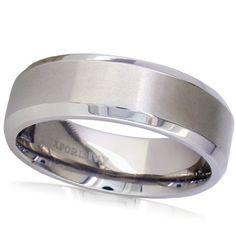 $19.95 7mm beveled edge comfort fit titanium ring from Oxford Ivy. Choose your ring size from 7 - 12 1/2.
