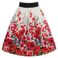 Praia White Poppy Swing Skirt | Vintage Style Skirts - Lindy Bop