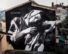 Amazing street art by Gomez in Selci, Italy. Beautiful street art.