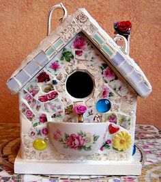 Shabby Chic Bird House by PalsCreations, via Flickr