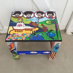 Yellow Submarine  Beatles Table hand painted by Moonlight Arts   facebook.com/MoonlightArts