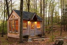 tiny cottage in woods, small cabin, living simpler, cottage cute, windows cottage Tiny Cabins, Cabins And Cottages, Little Cabin, Little Houses, Tiny Houses, Guest Houses, Cottage In The Woods, Cabins In The Woods, Cozy Cottage