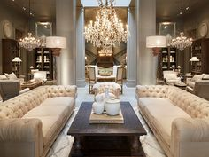 Luxury Living: 1 - Restoration Hardware Focuses on Home Living Room Decor Modern, House Design, Luxurious Bedrooms, Living Room Design Modern, Luxury Living Room, Chandelier In Living Room, Luxury Living, Interior Design, Apartment Interior