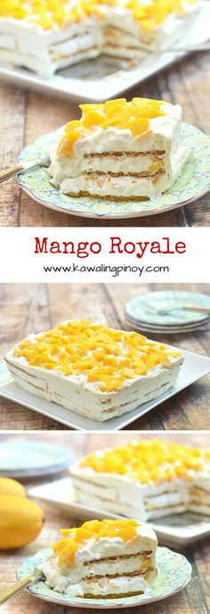 Mango Royale is a type of ice box cake made with layers of whipped cream, graham crackers and fresh Philippine mangoes (mango dessert recipes) Mango Dessert Recipes, Mango Recipes, Sweet Desserts, Filipino Desserts, Mango Graham Cake, Mango Cake, Dessert Simple, Biscuits Graham, Desert Recipes