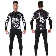 Men's Long Sleeve Cycling Jacket with Padded Pants