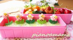 Flowers bento - like the picks to do a simple carrot flower instead