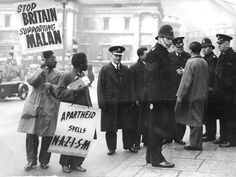 A protest in 1949 outside South Africa House in London against apartheid laws introduced by South Africa's first National Party Prime Minister, D F Malan.