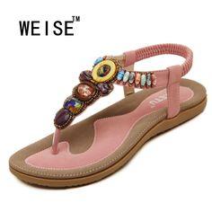 2017 New Korean Comfort Women Sandals Bohemian Beaded Flat Shoes Large Size 35-42 women  Shoes Royal Women Sandals