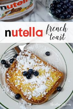 Nutella French Toast Recipe | This is AMAZING!! Top with powdered sugar and your favorite fruit.