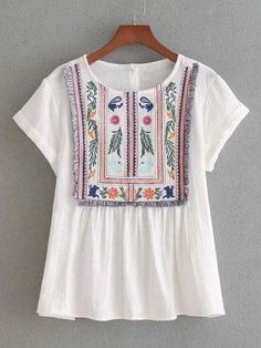 SheIn offers Rolled Cuff Fringe Trim Embroidery Top & more to fit your fashionable needs. Embroidery Dress, Floral Embroidery, Embroidered Blouse, European Fashion, European Style, Summer Tops, Cute Tops, Fashion Outfits, Womens Fashion