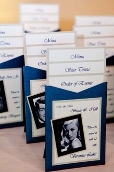 Old Hollywood Themed Wedding ... Guest Packets included guests' table info (named for an old Hollywood star), Menu Card, Order of Events, and Star Trivia.