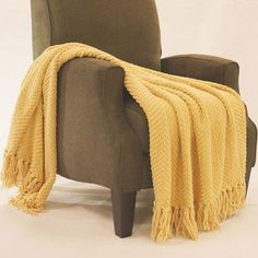 "Tweed Jumbo Throw Jojoba Yellow 60"" x 80"""