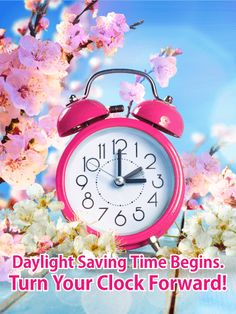 Cherry Blossom Daylight Saving Time Card Its To Spring Forward Every