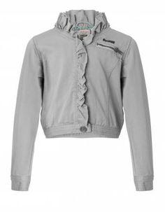 Noa Noa Miniature short light grey-green jacket with a ruffled edge