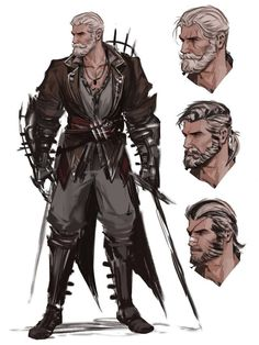 male character with alternative faces / hairstyles male fighter with dual swords. - male character with alternative faces / hairstyles male fighter with dual swords ideas for miniatur - Character Design Animation, Fantasy Character Design, Character Creation, Character Design References, Character Art, Character Ideas, Character Sketches, Dungeons And Dragons Characters, Dnd Characters