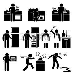 Man Cooking Kitchen Using Washing Equipment Stick Figure Pictogram Icon photo
