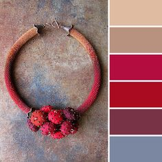 Blue, purple, red, beige. Color combination / palette