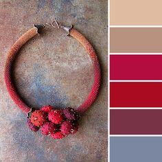 Blue, purple, red, beige. Color combination / palette