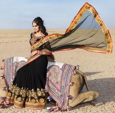 157792: Black and Grey color family Embroidered Sarees, Party Wear Sarees with matching unstitched blouse.
