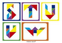 Notebook da Profª: Cards de letras com Tangram Kindergarten Math Activities, Preschool, Tangram, Material Didático, Pattern Blocks, Alphabet, Letters, Shapes, Notebook