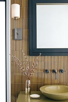 Bathroom Decorating Ideas   Black Shadowbox Mirror And Vertical Lined Tiles  Vessel Sink Lighting Sconces Modern Zen .