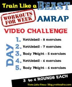 5 Day AMRAP Workout Challenge click the image and find 5 great workout videos one for each day. Are you up for the challenge?