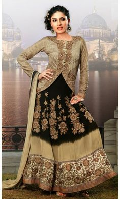 Alluring Beige and Black Salwar Kameez
