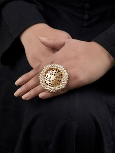 Gold Toned Handcrafted Brass Pearls Ring