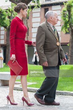 Juan Goytisolo and Queen Letizia of Spain attend Cervantes Award Ceremony at Alcala de Henares University on April 23, 2015 in Alcala de Henares, Spain.
