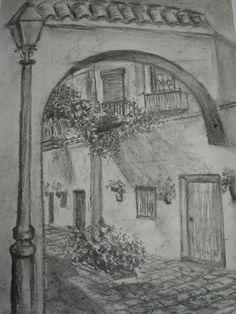 dibujos a carboncillo de paisajes ile ilgili görsel sonucu - Sara Gasca - Landscape Pencil Drawings, Pencil Art Drawings, Amazing Drawings, Easy Drawings, Tracing Art, City Drawing, Building Sketch, Black And White Sketches, Sketch Painting