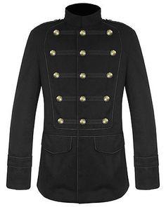 Men Black Military Jacket Goth Steampunk Vintage Pea Coat 100% Cotton