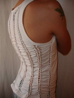 Awesome tank top with rows of weaving.