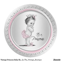Vintage Princess Baby Shower Pink Silver Paper Plate