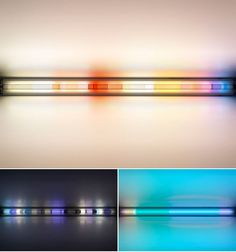 Fluorescent lights love colour gels! Lighting System, Lighting Solutions, Lighting Design, Spencer Finch, Light Art Installation, Research Images, Lamp Bulb, Signage, Lights