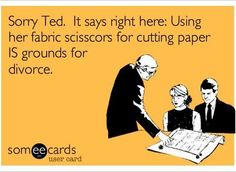 I am justified when I run screaming towards my sewing scissors as some poor soul in my family attempts to cut paper with them.