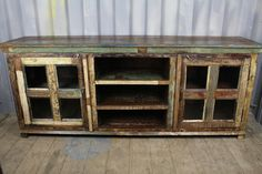 Reclaimed Wooden Console with Glass Doors