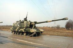 2S19  MSTA-S 152 mm Self-Propelled  Howitzer (Russia). Heavy stuff. Range: over 24 km.