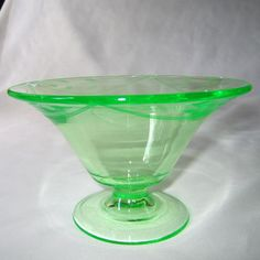 Tiffin Leaf Etch Glass Green Low Footed Compote Bowl Antique Vtg