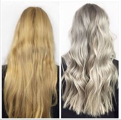 From a warm toned blonde to cool silver blonde hair colour. Hair by Marije @ Salon B, Almere
